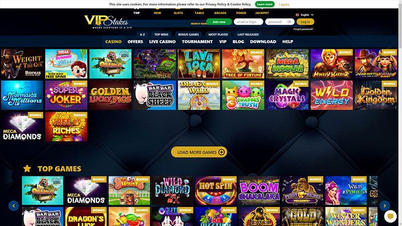 vipstakes lobby screenshot