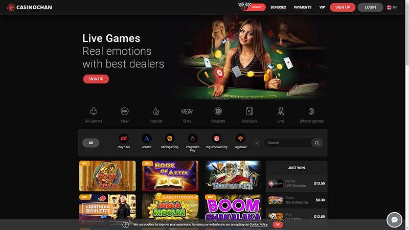 casinochan lobby screenshot