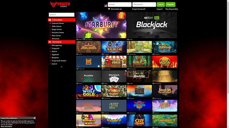 torito casino lobby screenshot