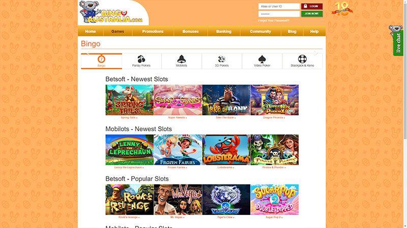 bingo australia lobby screenshot