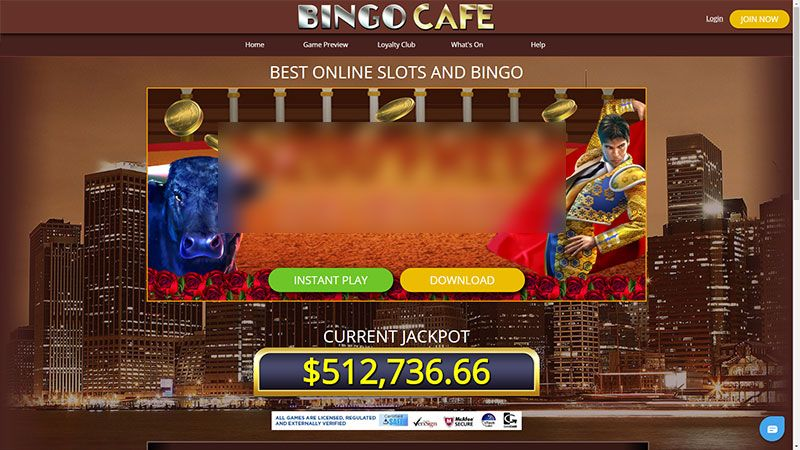 bingocafe lobby screenshot