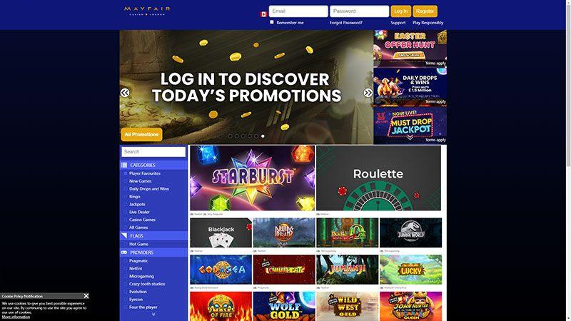 mayfaircasino lobby screenshot