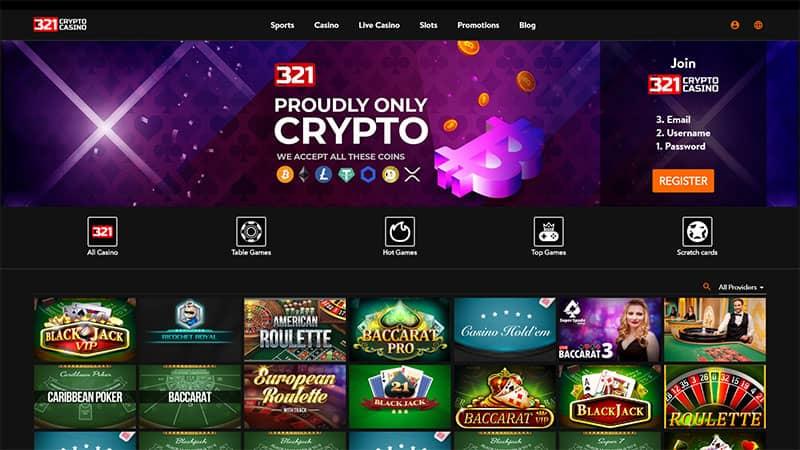 321cryptocasino lobby screenshot