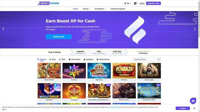 boost casino lobby screenshot