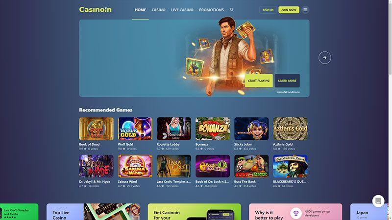 casinoin lobby screenshot