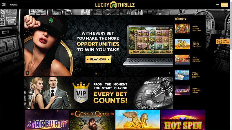 lucky thrillz lobby screenshot
