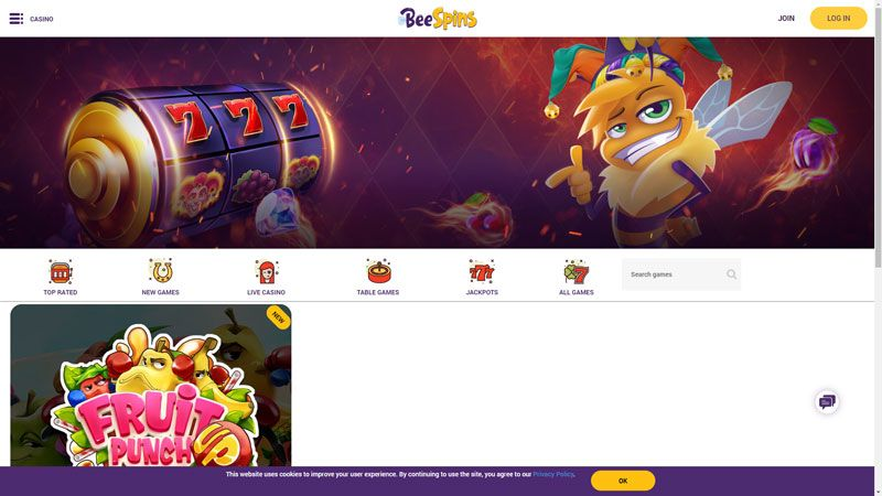 beespins lobby screenshot