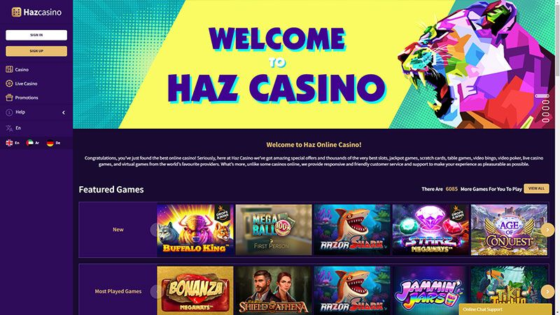 haz casino lobby screenshot