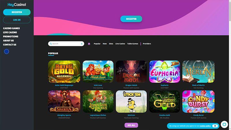 heycasino lobby screenshot