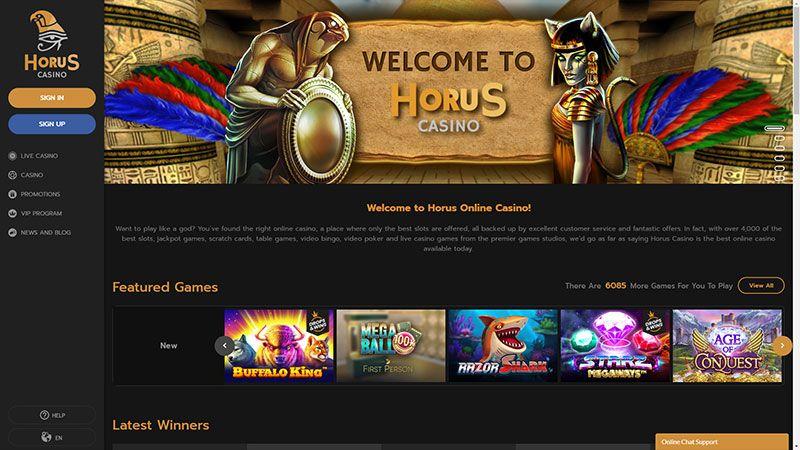 horus casino lobby screenshot