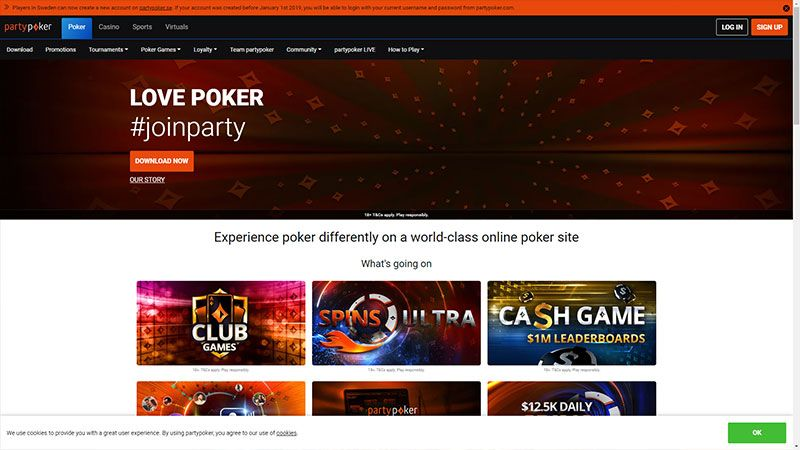 partypoker lobby screenshot