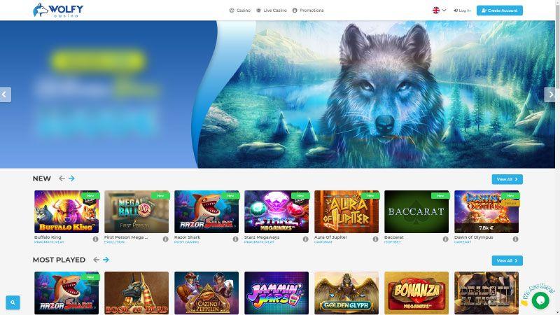 wolfy casino lobby screenshot