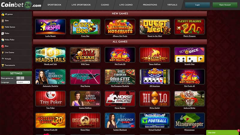 casinobet24 lobby screenshot