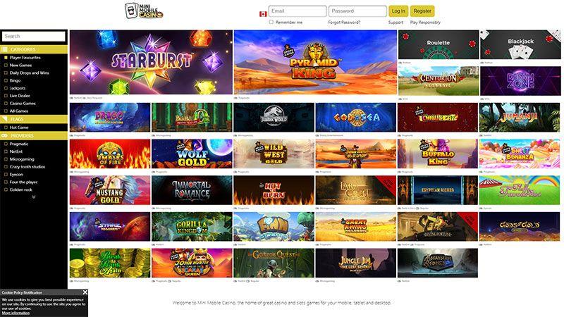 mini casino mobile lobby screenshot
