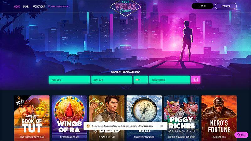 neon vegas lobby screenshot