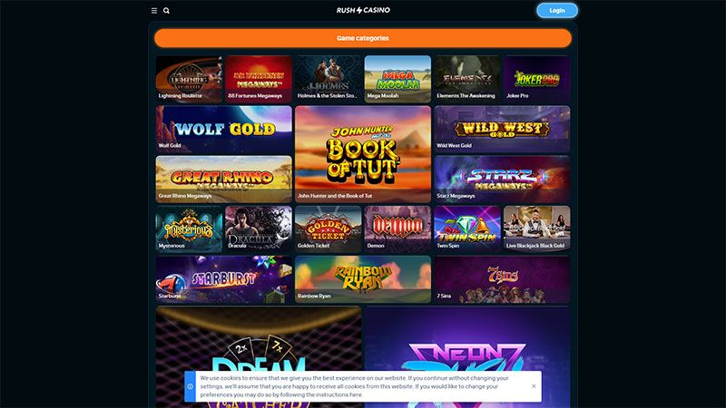 rush casino lobby screenshot