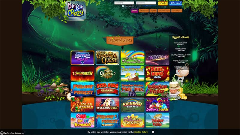 bingo crazy lobby screenshot