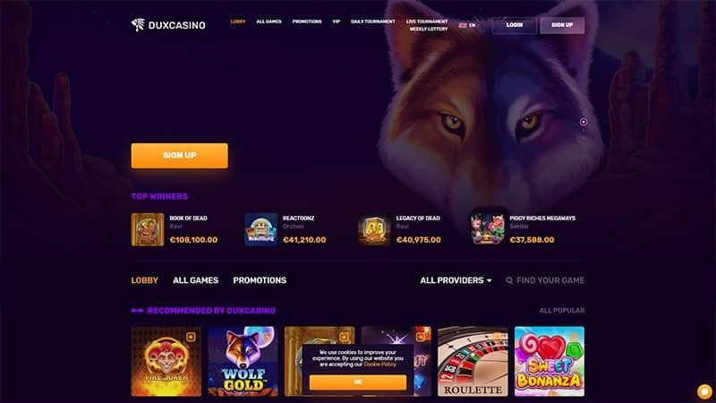 duxcasino lobby screenshot