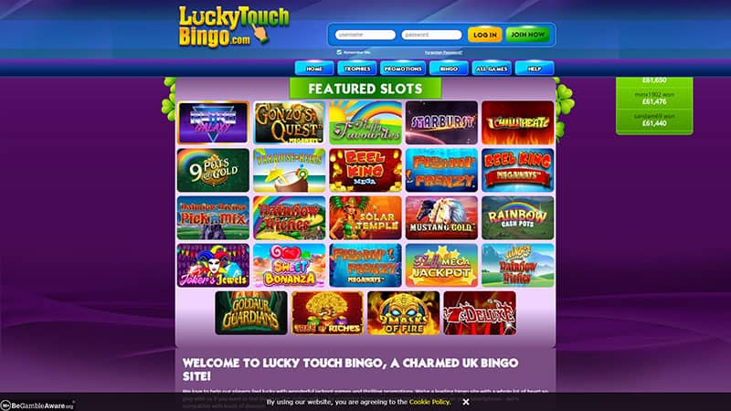 luckytouchbingo lobby screenshot