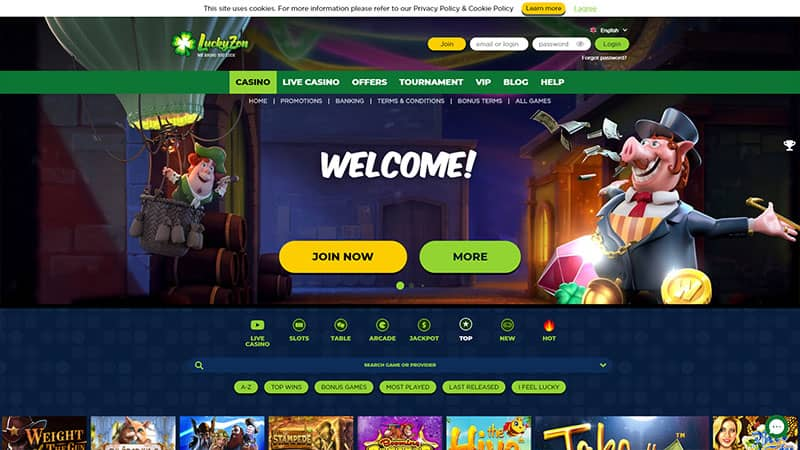 luckyzon lobby screenshot