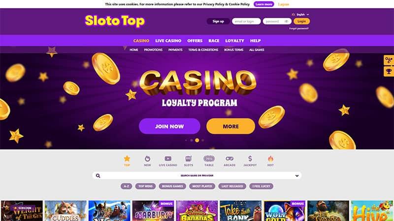 slototop lobby screenshot