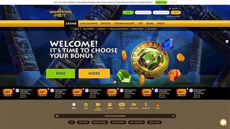 wilderino lobby screenshot