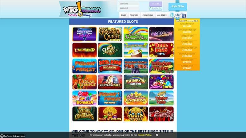 wtgbingo lobby screenshot
