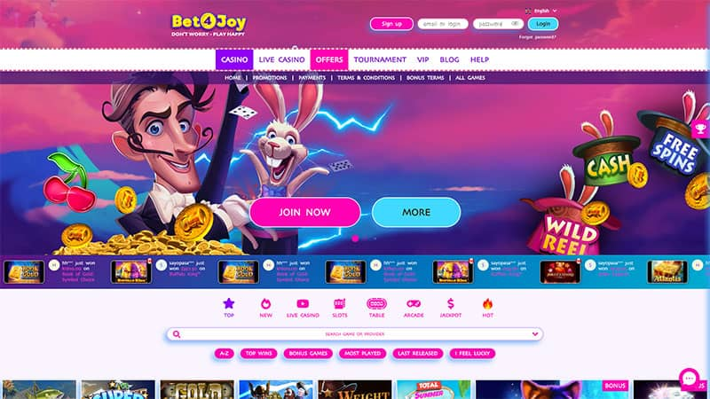 bet4joy lobby screenshot