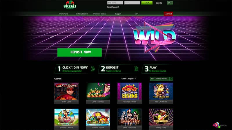 gocrazy casino lobby screenshot