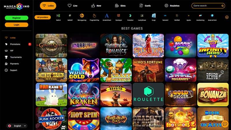 maxcazino lobby screenshot