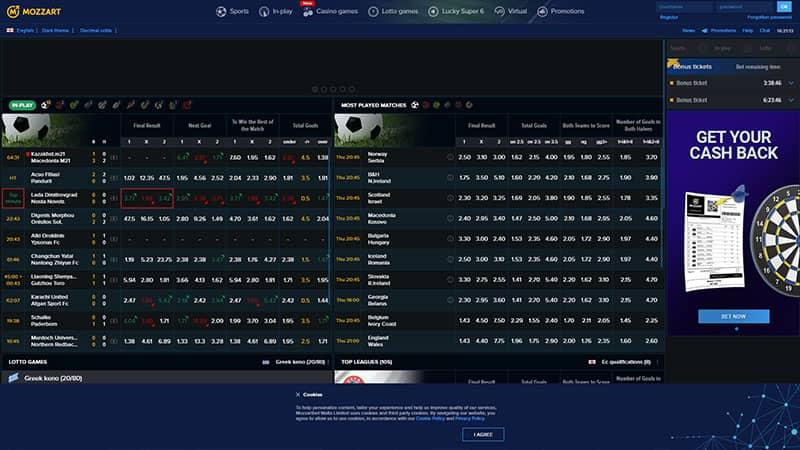 mozzart lobby screenshot