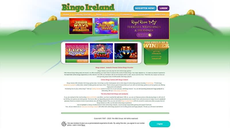 bingo ireland lobby screenshot