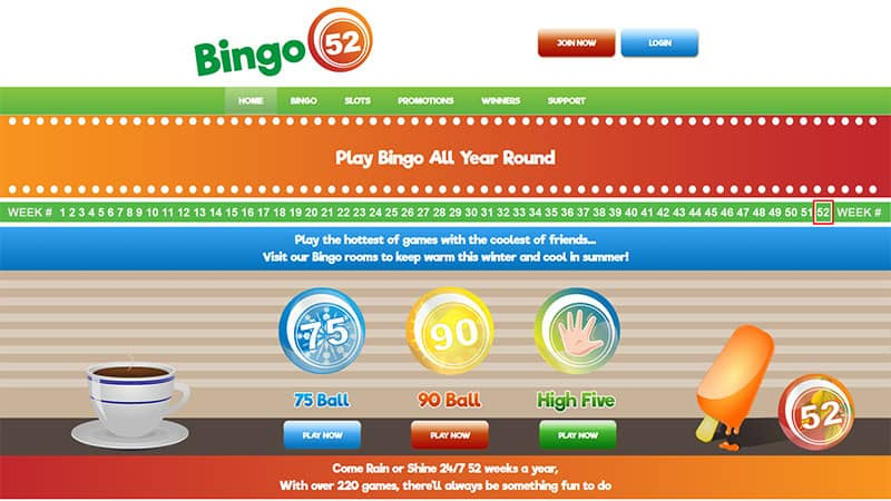 bingo52 lobby screenshot
