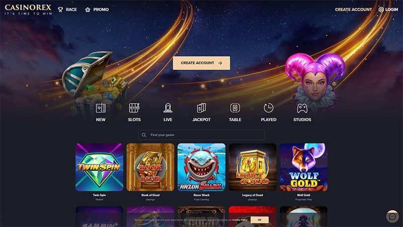 casinorex lobby screenshot