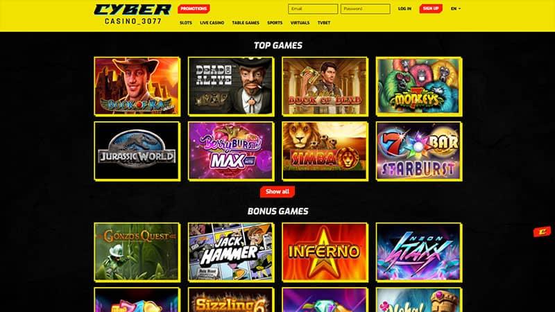 cybercasino3077 lobby screenshot