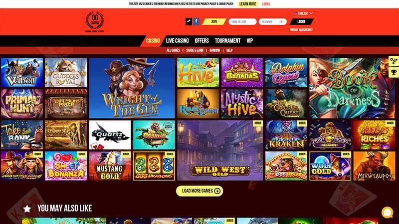 ogcasino lobby screenshot