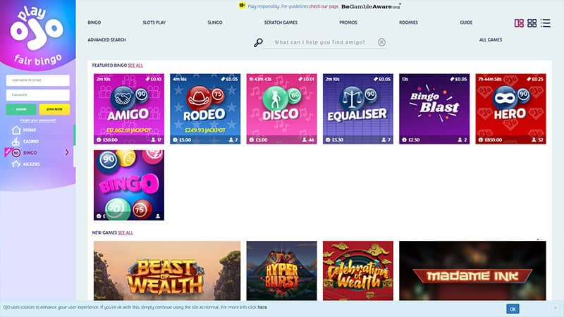 playojofairbingo lobby screenshot