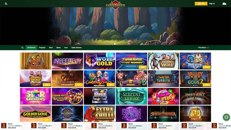 casinobuck lobby screenshot