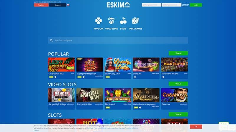 eskimo casino lobby screenshot