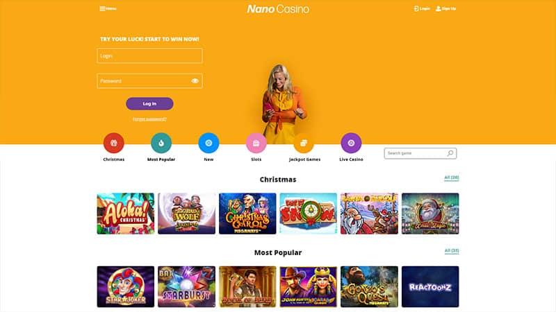 nano casino lobby screenshot