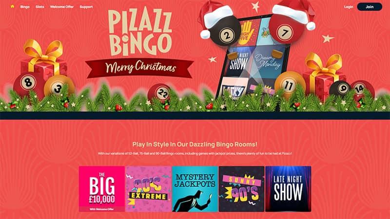pizazz bingo lobby screenshot