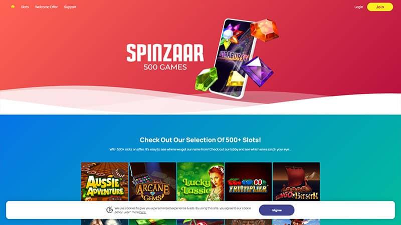 spinzaar lobby screenshot
