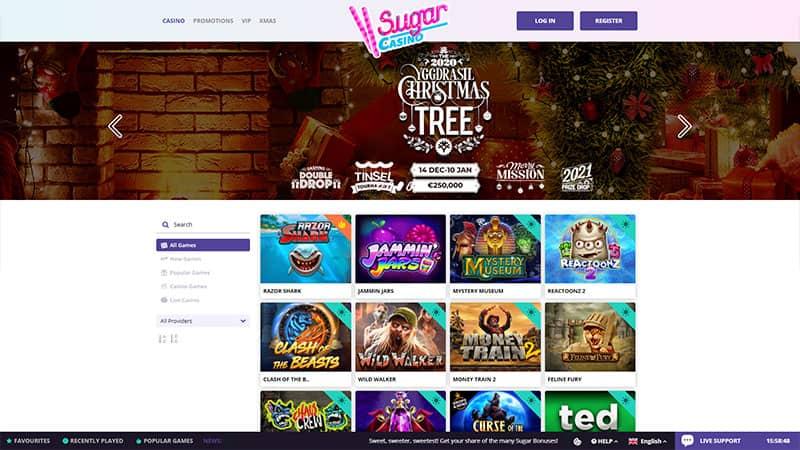 sugarcasino lobby screenshot