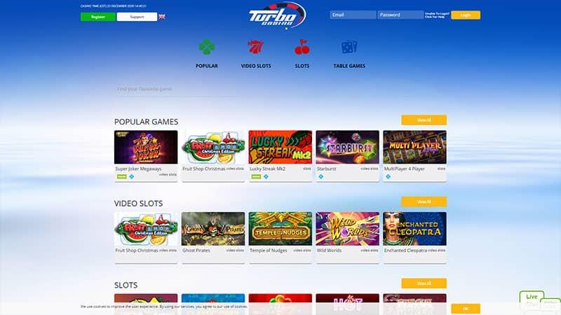turbo casino lobby screenshot