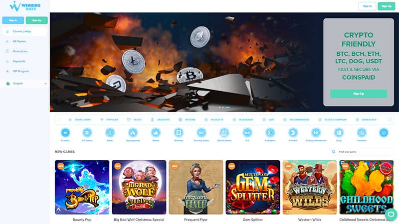 winning days lobby screenshot