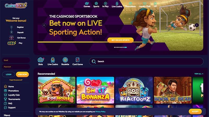 casino360 lobby screenshot
