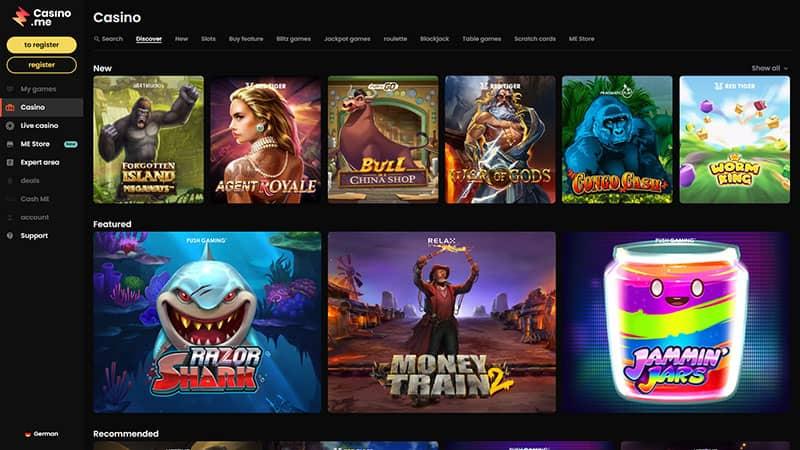 casinome lobby screenshot