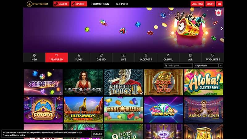 royal tiger bet lobby screenshot