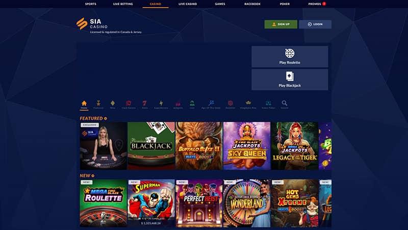 sia casino lobby screenshot