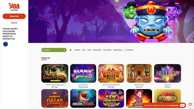 yaa casino lobby screenshot